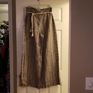 Anthropologie linen wide leg pants size 8